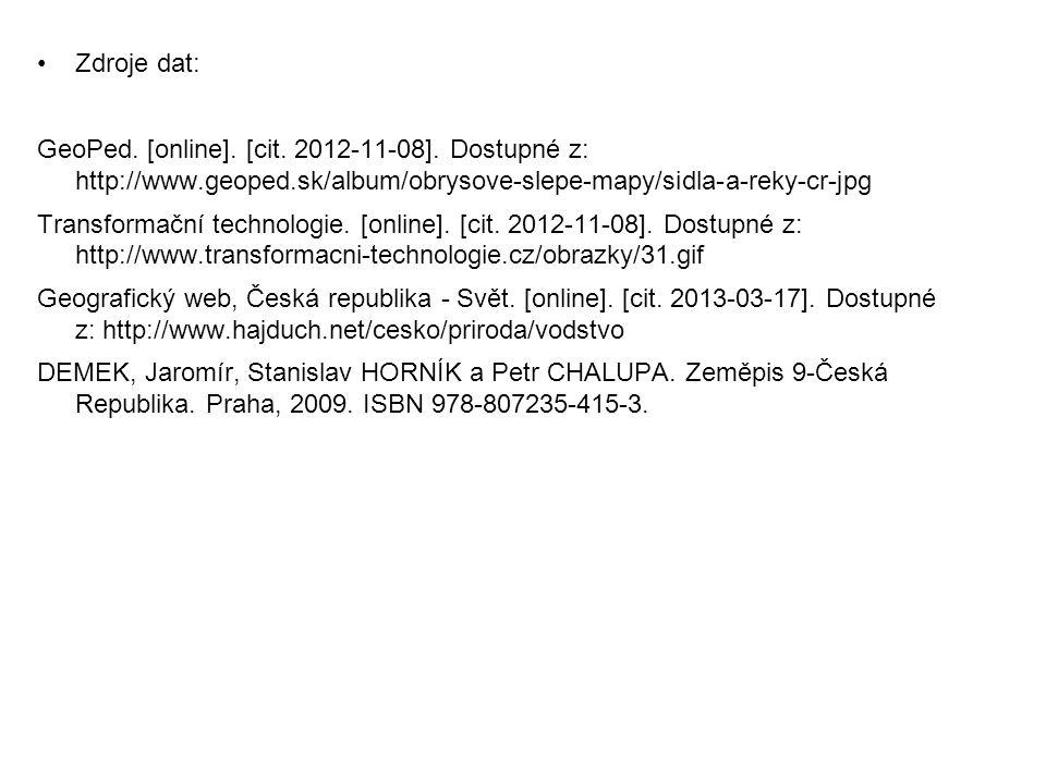 Zdroje dat: GeoPed. [online]. [cit. 2012-11-08]. Dostupné z: http://www.geoped.sk/album/obrysove-slepe-mapy/sidla-a-reky-cr-jpg.